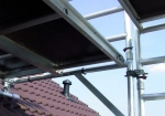 The extension console is easily secured to the frame of the RS TOWER 5 Series scaffolds.