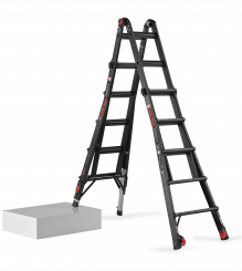 Black Pro Leveler. Telescopic folding ladder for the professional