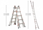 Multiple positions, different heights folding ladder