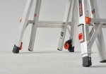 Stable and secure telescopic folding ladder