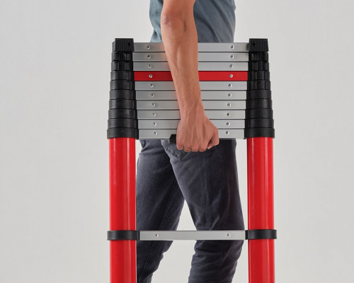 Compactly stored telescopic ladder