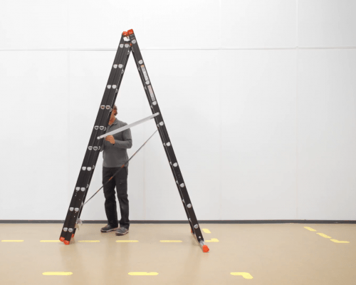 How do you set up a Mounter combination ladder in the A-position?