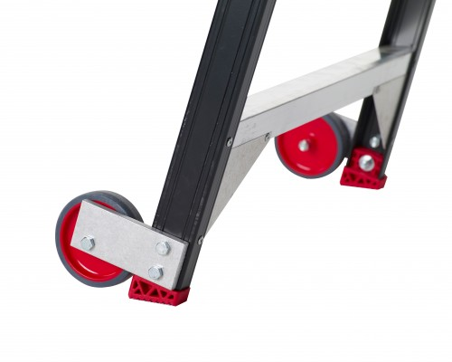 The Taurus Warehouse stepladder is easy to move with its fixed wheels and ergonomic guardrails